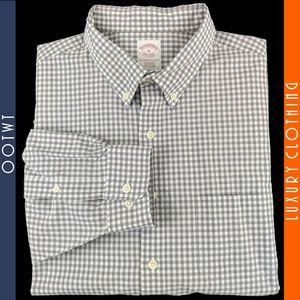 BROOKS BROTHERS XL Gray White Check Gingham Shirt